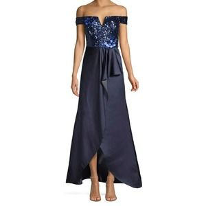Aidan Maddox off  shoulder gown with sequins NWT